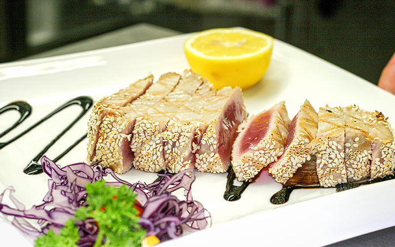 Fischgerichte im Restaurant Da Roberto in Merzig